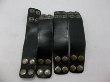 Police Security Duty Belt Keepers 4 Set Double Wide Black Smooth Leather