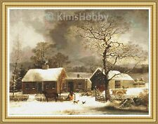 """""""Winter Scene in New Haven, Connecticut"""" Is A 14ct Cross Stitch Chart Pattern"""