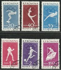 "Romania 1960 Very Fine Used Stamps Set "" Summer Olympic Games "" Scott # 1331-36"