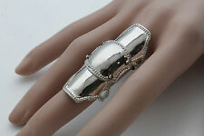 Women Shiny Silver Metal Ring Fashion Jewelry Long Finger Knuckle Size Band 6.5