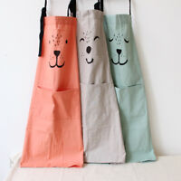 Cotton and Linen Cartoon Apron Kitchen Waterproof Baking Smock For Adult Kid