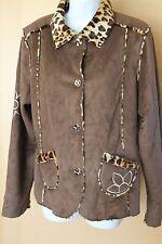 IZ Byer California Reversible Jacket Faux Brown Suede Animal Print XL 16 Girl A6