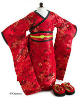 "Doll Clothes 18"" Kimono Red Blossom by Carpatina Fits American Girl Doll"