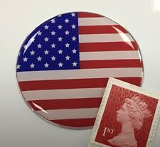 USA Stars & Stripes Flag Sticker Super Shiny Domed Finish 50mm Diameter