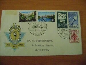 FIRST DAY COVER Australia 1956 Olympics set on PO 'Hermes' FDC ~ Addressed