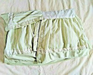 Tiddlewinks Jungle Baby Nursery Crib Skirt Green Striped Brown Polka Dot Soft