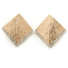 Gold Tone Textured Crystal Square Stud Earrings - 30mm