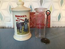 More details for collectable vintage horlicks malted milk glass mixer & ceramic storage caddy