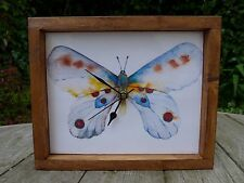 Butterfly Trophy Tile desk / wall clock handmade handcrafted, gift idea for her.