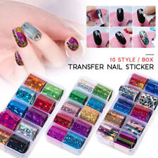 10 Rolls/Box Holographics Nail Foils Set Transfer Stickers Adhesive Wraps Decals