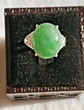 Genuine Bright Green 10.5ct Jadeite Jade(Type A) 925 Silver Ring SIZE Adjustable
