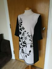 Ladies Dress Size 12 Black White Tunic Smart Casual Day Party