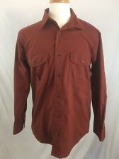 Cabelas Long Sleeve Button Front Shirt Mens Size L Red Outdoors Rugged Camping