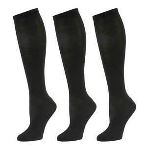 Steve Madden 3 Pack Solid Knee High Socks Black Shoe Size 5-10 NWT