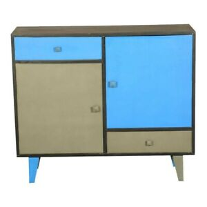 Made to Order Vivid Blue & Gray Indian Mango Wood Standing Console Cabinet
