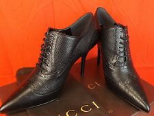 NIB GUCCI GIA BLACK LEATHER PERFORATED BROUGUE POINTED TOE ANKLE BOOTS 37 $1100
