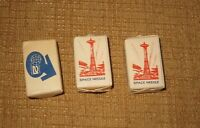 3*1962 WORLD'S FAIR SEATTLE SOUVENIR SPACE AGE CANE SUGAR CUBE  SPACE NEEDLE