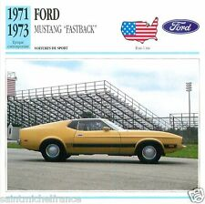 """FORD MUSTANG """"FASTBACK"""" 1971 1973  CAR VOITURE USA ETATS-UNIS CARTE CARD FICHE"""