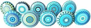 Vintage Look Flower Ceramic Knobs Door Handle Cabinet Drawer Turquoise Blue-10 x