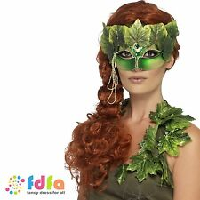 GREEN FOREST NYMPH EYEMASK LEAVES + JEWELS One Size FAST POST ladies Fancy Dress