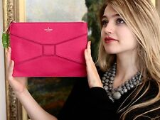 Kate Spade Gia Bridge Place Clutch Handbag Sweetheart hot Pink  BOW BEAU