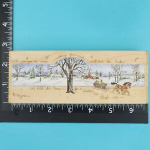 Winters Sleigh Ride 80180 Horse Snowy Scene D Morgan Stamps Happen Rubber Stamp