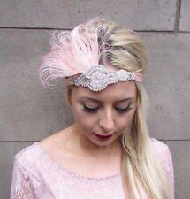 Blush Light Pink Silver Feather Headpiece 1920s Headband Flapper Gatsby Vtg 4346