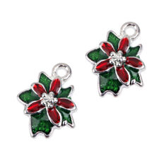 10pcs Silver Enamel Christmas Flower Charm Pendant Jewelry Bracelet Findings