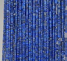 """1.5MM LAPIS LAZULI GEMSTONE BLUE ROUND TUBE HEISHI LOOSE BEADS 14.5"""""""