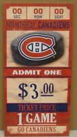 """MONTREAL CANADIENS GAME TICKET ADMIT ONE GO CANADIENS WOOD SIGN 6""""X12'' WINCRAFT"""
