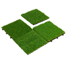9 Pieces Artificial Grass Tiles Synthetic Grass Carpet for Patio Flooring Decor