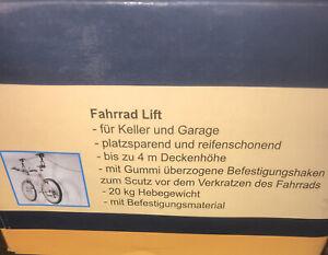 Fahrrad Lift Neu, 20 Kg Hebegewicht, bis zu 4 Meter Deckenhöhe. Fahrradaufzug
