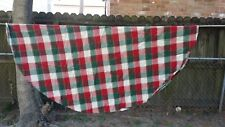 "Red White Green Gold Christmas Plaid Round 56"" Tablecloth Free Shipping"
