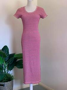 [ AMERICAN EAGLE OUTFITTERS ] Red/White Stripe Ribbed Bodycon Dress | Size M
