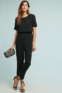 NEW ANTHROPOLOGIE BLACK ALLEGORY TEXTURED JUMPSUIT BY CARTONNIER SZ L LARGE