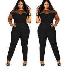 Women Playsuit Lady Bodycon Short Sleeve Top Jumpsuit Romper Trousers Plus Size UK 18-20 Wine Red