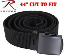 "Web Belt Black Military Nylon Web Belt & Buckle 44"" CUT TO FIT  Rothco 4242"