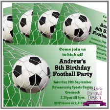 5 X Personalised Kids Childrens Birthday Invites Invitations...Football Party 1
