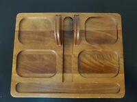 Vintage Decatur Industries Deco Walnut Wood Caddy Vanity Desk Tray