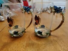 New listing 2 Piece Drinking Glass Set Metal Butterfly/Flower Decorated