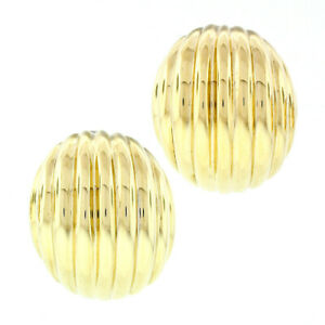 Hammerman Bros. 14k Yellow Gold Polished Puffed Scalloped Domed Button Earrings