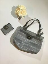 Coach 2 Pieces Penelope Optic Signature Handbag And Wallet In Gray F16540