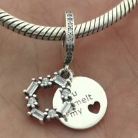 925 Sterling Silver Ice Carving Dangle Charm CZ You Melt My Heart Christmas 2018