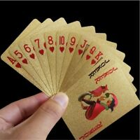 24K Gold Playing Cards Poker Game Deck Gold Foil Plastic Waterproof Magic Cards