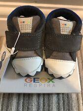 Geox Designer Baby Boys First Crib Shoes Grey/Blue B Ian B UK 3 Infant BNIB
