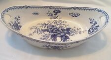ANTIQUE BOOTHS BOWL VARIATION WORCESTER RHAPSODY BLUE & WHITE WITH INSECTS