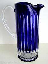 AJKA CASTILLE COBALT BLUE CASED CUT TO CLEAR LEAD CRYSTAL WATER PITCHER