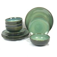 NEW 12 PIECE SET SANGO NOVA GREEN DINNERWARE DINNER SALAD PLATE BOWL FREESHIP
