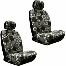 Black Hawaiian Hibiscus Print Low Back Seat Covers Fit's Most SUV's,Cars &Trucks