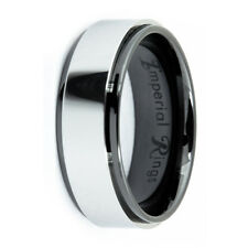 BLACK CERAMIC MEN'S WEDDING BAND/PROMISE RING SIZE 7-12 TUNGSTEN INLAY-TUNGSTIN